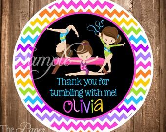 Gymnastics Party Favor Tags , PRINTABLE Gymnastics Gift Tags, Gymnastics Birthday Party