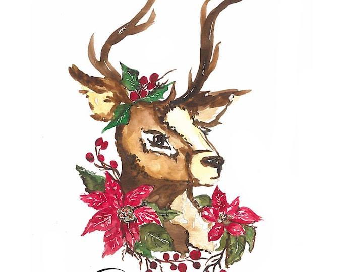 Print of Cupid on of Santa's reindeer