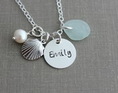 sterling silver seashell charm necklace - custom name disc - genuine sea glass personalized hand stamped - beach ocean jewelry - White pearl