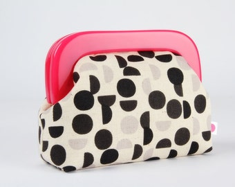 Little purse with resin frame - Shades in black - Girly purse / Hot pink frame / black grey charcoal