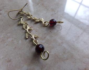 Brass Leaves Garnet Earrings