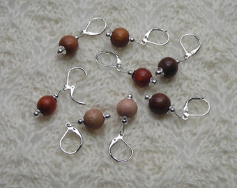 crochet knitting removable stitch markers - assorted wood  beads - 10mm beads - set of 8 - natural red brown rose colored wood