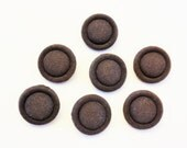 Chocolate Brown Faille Fabric Covered Buttons - Vintage - Set of 7