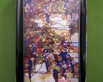 Tiffany Wisteria Stained Glass Window Large Rectangle Glass Paperweight Home Decor