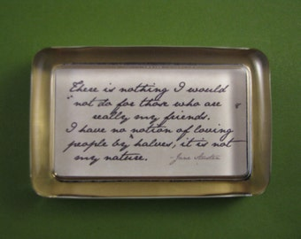 "Jane Austen Home Decor Regency ""Northanger Abbey"" Quotation Rectangle Glass Paperweight - My Friends"