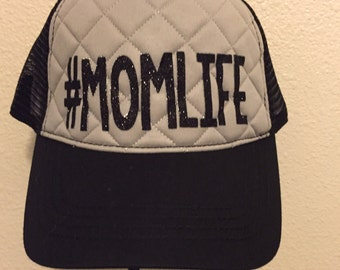 Womens Glitter Mom Life Gray Quilted &  black  trucker cap RTS