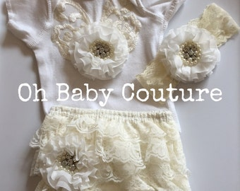 Baby Newborn Infant lace Tee and Bloomer with headband Set Wedding Photo Shoot Take Me Home Outfit