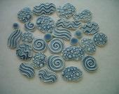 27LL - Super THIN 27 pc BLUE Water Circles - Ceramic Mosaic Tile Set