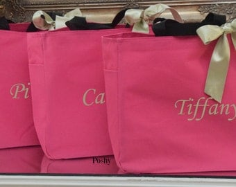 Monogrammed Bridal Party tote bags gifts MIX and MATCH colors