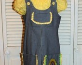 Denim Jumper with Yellow Peasant Blouse