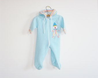 Vintage Blue Fleece Baby Sleeper