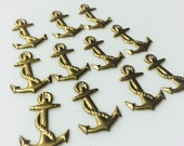 Vintage brass anchor charms bulk lot of 10