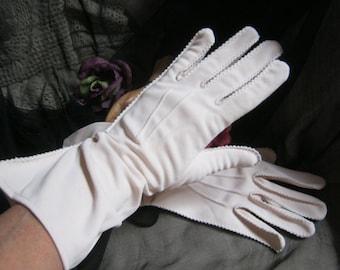 Vintage 50s ivory beige cottony nylon gloves, pale stone color mid arm gloves, size 7 light cement color Stetson woman's glove, neutral