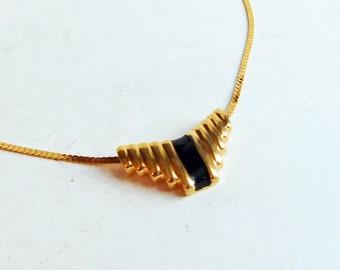 Vintage Signed Napier Goldtone Slide Pendant Necklace with Black Enamel - Faux Gold Necklace - Art Deco Style Geometric Necklace- 1980s