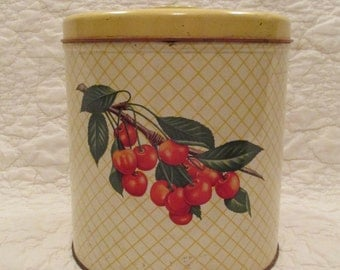 Vintage Large Tin with Cherries Yellow Great Old Storage