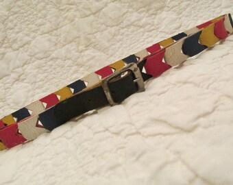 Vintage faux Leather multi color retro belt small SALE