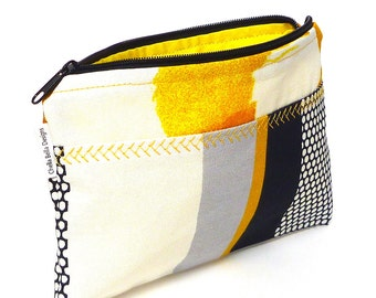 Yellow and black cosmetic bag with custom stitching, make-up bag, gadget bag One of a Kind
