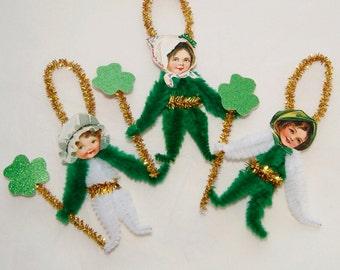 Chenille Ornaments St. Patrick's Day, Vintage Primitive Style, Lucky Shamrocks (94)