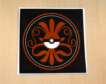 Archaic Pokeball Motif- 5x5 Blank Pokemon Greeting Card
