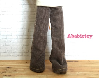 Fashion Flared Corduroy Pant for Blythe - Pewter Gray