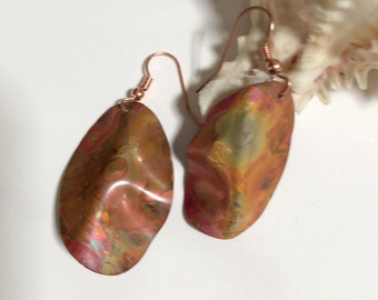 Colored Copper Dangles - Hand Forged and Fire Painted