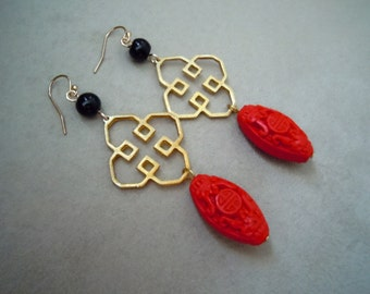 Eastern Moon -- Red Cinnabar, Gold Accent, and Black Bead earrings