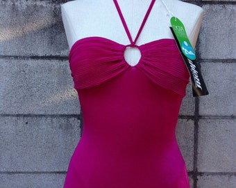 One Piece Swimsuit Vintage 1980s Shiny Bathing Suit Magenta Fuchsia Sea Fashions Pleated Bust Key Hole