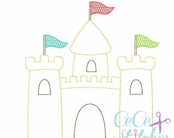 Vintage Sand Castle Embroidery Design