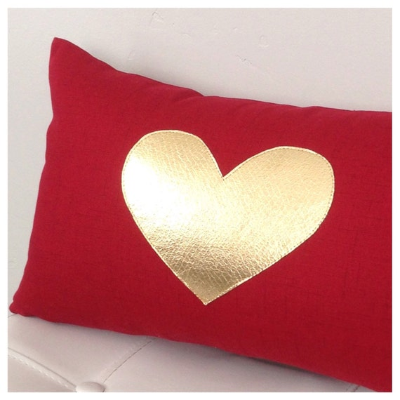 Red Heart Decorative Pillow : GOLD Heart Pillow Cover Wedding Decor Red and Gold Heart