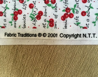 1 Yard 20 Inches Cotton Fabric Life is a Bowl of Cherries