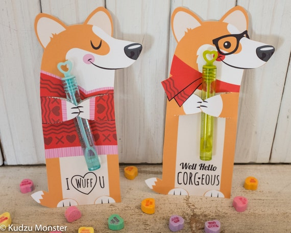 Corgi Dog Valentine Printable Welsh Corgi Puppy by