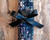 Blue Purple Geo Batik Print 6pc or 12pc Jewelry Travel Roll Necklace Organizer