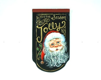 Jolly Santa Hand Painted on Wood Plaque 279
