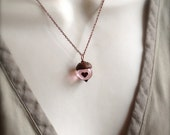 Glass Acorn Necklace in Vintage Pink with encased Heart (regular size) by Bullseyebeads
