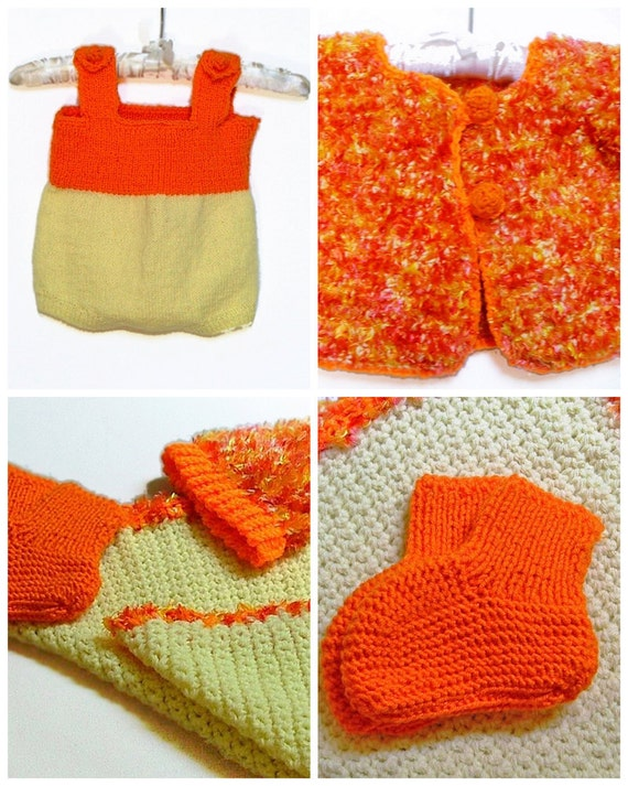 Baby Sweater and Romper Set, Orange and Yellow Jacket, Sweater, Romper, Hat