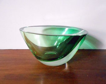 Modernist KOSTA Sweden Green Cased in Clear Art Glass Bowl, Vicke Lindstrand, Small / Diminutive / Miniature / 2 in. Tall