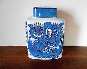 Modernist Royal Copenhagen TENERA Vase, Blue, Purple, Berte Jessen, Danish Ceramics