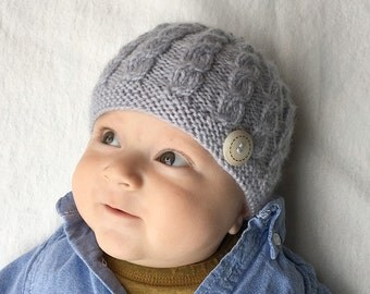 Baby Hat Knitting Pattern, PDF Knitting Pattern, Baby Boy Hat Pattern, Cable Baby Hat PDF, Knit Baby Hat Download, Pattern for Boys - HARPER