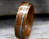 Bentwood Ring - Santos Rosewood Wooden Ring with Offset Turquoise Inlay - Handcrafted Wood Wedding Ring - Custom Made