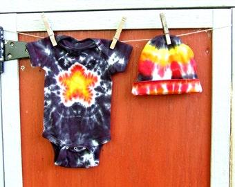 Tie Dye Baby Gift Set - Onesie and Roll-up Beanie - Newborn - Rock Star - Ready to Ship