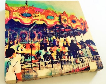Carousel Merry Go Round - Carnival Picture - Circus Theme - Gender Neutral Nursery - Vintage Retro Photo Canvas Print - Wall Art Canvas 8x8