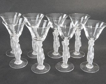 Bayel Bacchus Nude Male with Grapes French Crystal Stems Wine Liquor Barware