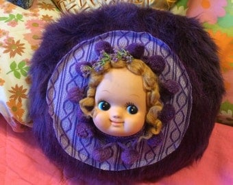 Grape Girl - Dolly Pillow - Handmade One of a Kind Faux Fur Creation 12""