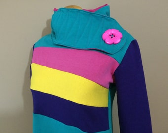 CABOODLE - Hoodie Sweatshirt Sweater - Recycled Upcycled - One of a Kind Women - MEDIUM