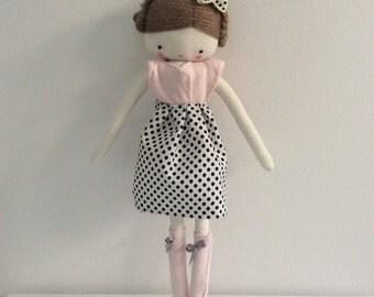 Custom order for Leanne Handmade rag doll , Zoe - ooak cloth art rag doll polka dots skirt, pale pink top and socks