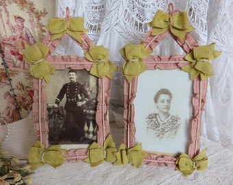 Pair of Vintage French Ribbon Frames, Antique 1900s Handmade Photo Frames, Pretty Ribbon & Bows, Paris Apartment Chic Decor, French Textiles