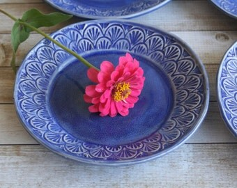 Set of Four Handcrafted Dessert Dishes in Cobalt Blue Glaze Rustic Stoneware Pottery Made in USA Ready to Ship