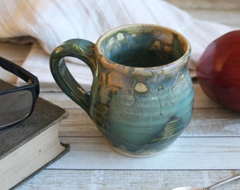 Rustic Shades of Green Ceramic Mug Handcrafted Stoneware Pottery Coffee Cup Artfully Glazed Ready to Ship Made in USA