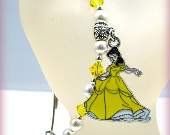 MEDICAL ID Alert Allergy Bracelet Beaded Princess Belle Charm Swarovski Yellow Pearl