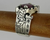 Fairy dragon castle bridge and ruby red sapphire silver ring DTPD PMC